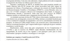 Nota de entidades repudia novo corte de bolsas no orçamento do CNPq